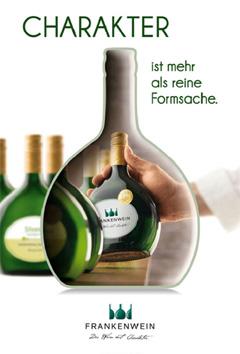 """Si vede la locandina con il testo in tedesco che dice """"carattere va oltre la forma"""", fonte: Fränkischer Weinbauverband e.V."""