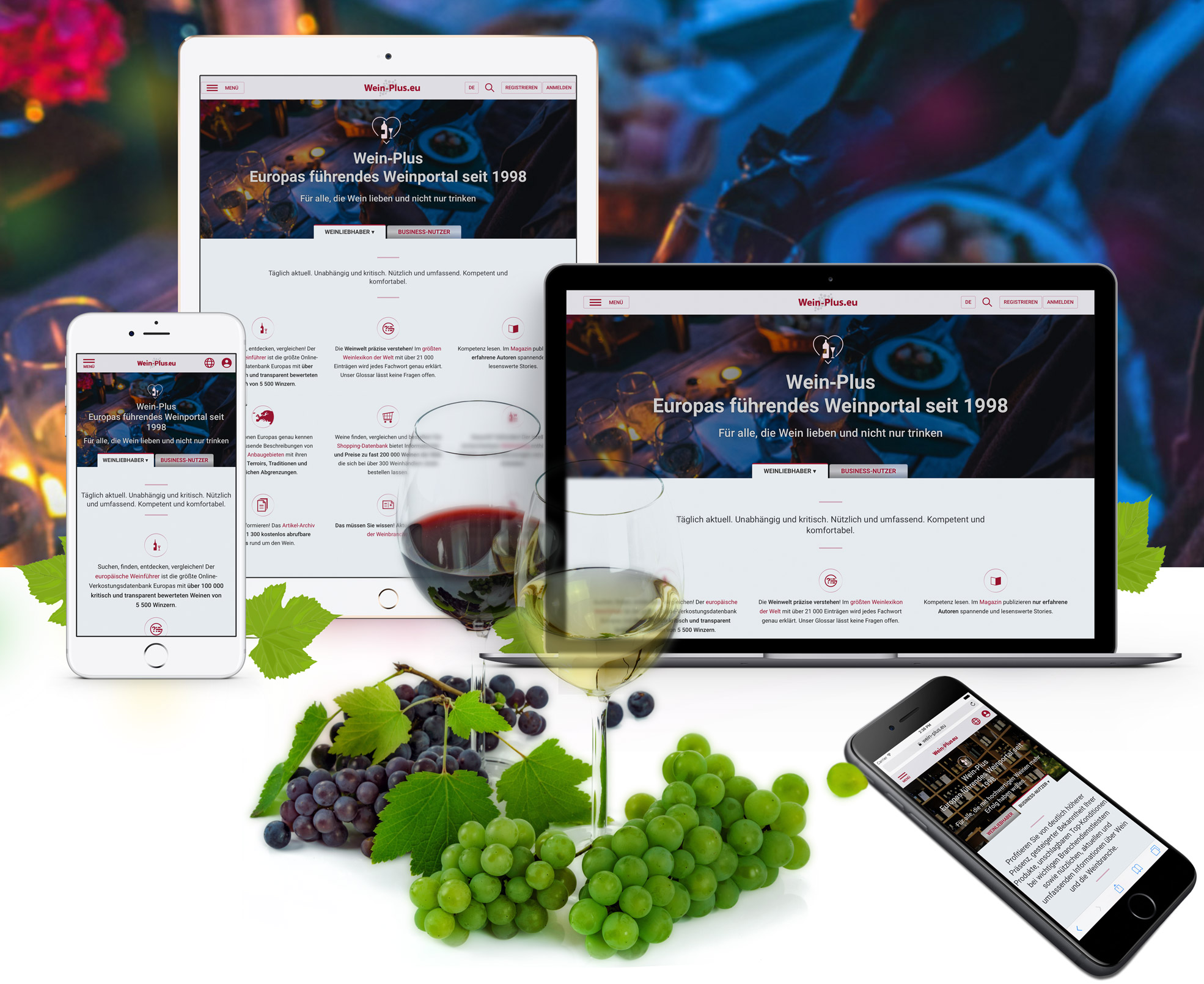 il novo sito Wein-Plus.eu è online fruibile ora su tutti i mobile devices e ovviamente anche su pc normali
