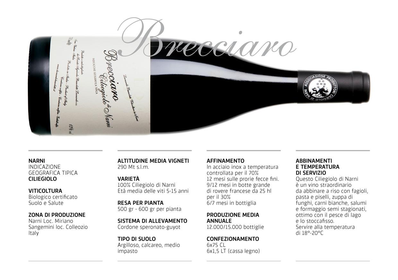 """La scheda tecnica del vino """"Brecciaro"""" Ciliegiolo Narni Igt del pacco degustazione autunnale di Wein-Plus"""