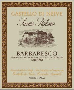 L'etichetta del vino Barbaresco DOCG Santo Stefano di Castello di Neive