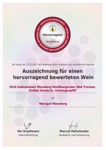 Esempio per un diploma di vino, emessa dalla pregiata guida dei vini Wein-Plus