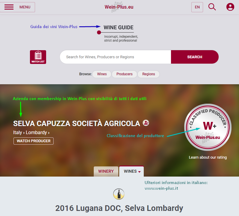 Screenshot della guida dei vini Wein-Plus con un esempio del sugello di classificazione per una produttore di vino.