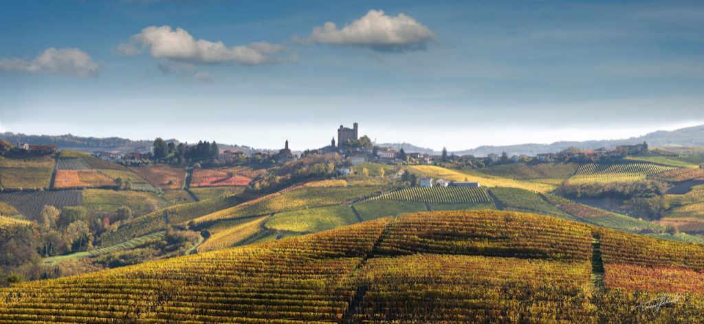 Vista sui vigneti in Serralunga con il paese in fondo con i colori di autunno. Foto: Tino Gerbaldo