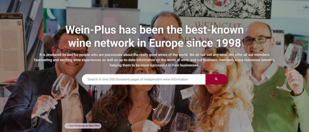 Home della guida e network del vino Wein-Plus. Si trova anche allo stand 14A66 di Wein-Plus al Prowein 2019. Wein-Plus Italia