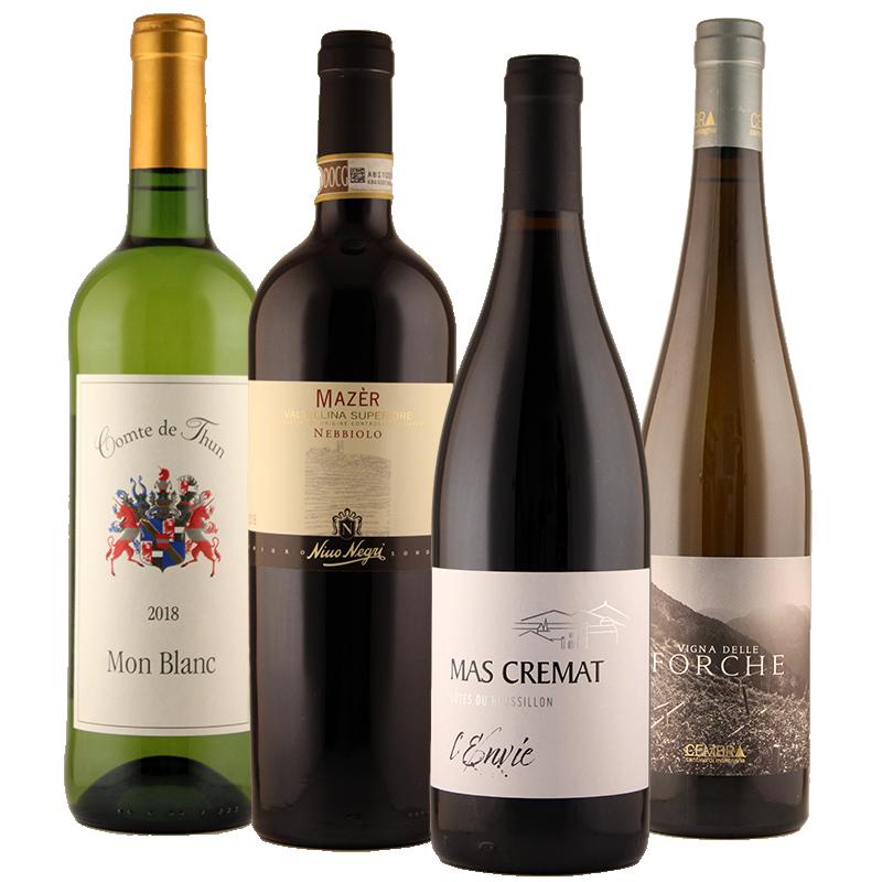 I quattro vini del pacco degustazione primavera 2020 di Wein-Plus