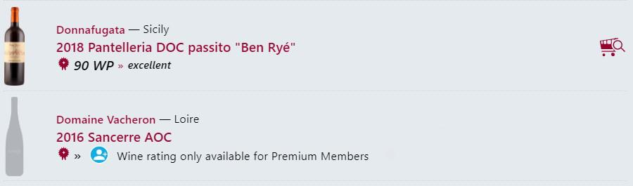 Esempio di un bottone find&buy di una cantina Premium in confronto di un non-membro