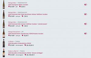 una lista dei vini come esce dalle recensioni dei vini di wein.plus