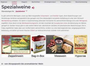 anche i vini speciali sono spiegati nella enciclopedia di wein.plus