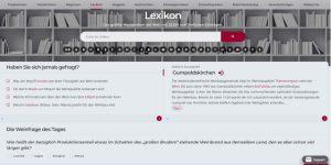 la pagina iniyiale del Lexicon del vino sulla piattaforma del vino wein.plus
