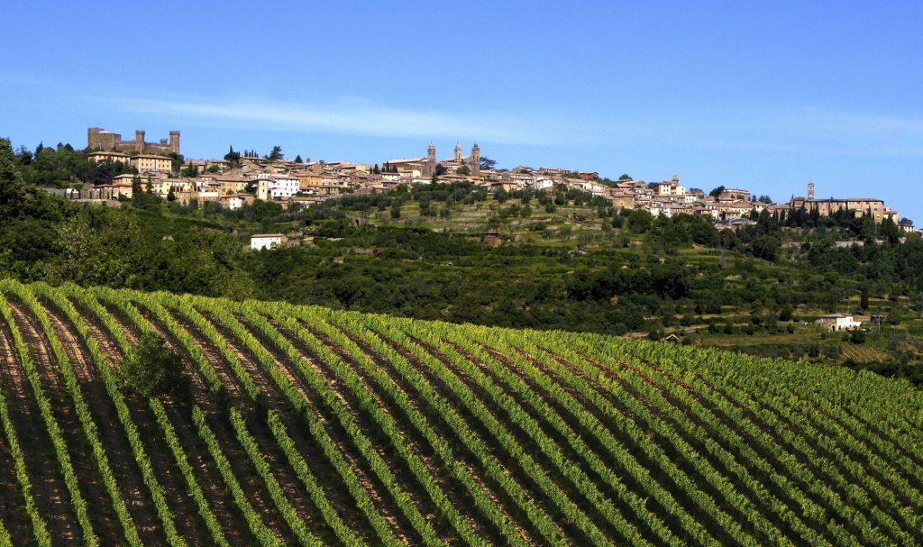 Montalcino con i vigneti a Sangioves (Brunello). Foto: Consorzio del Vino Brunello di Montalcino