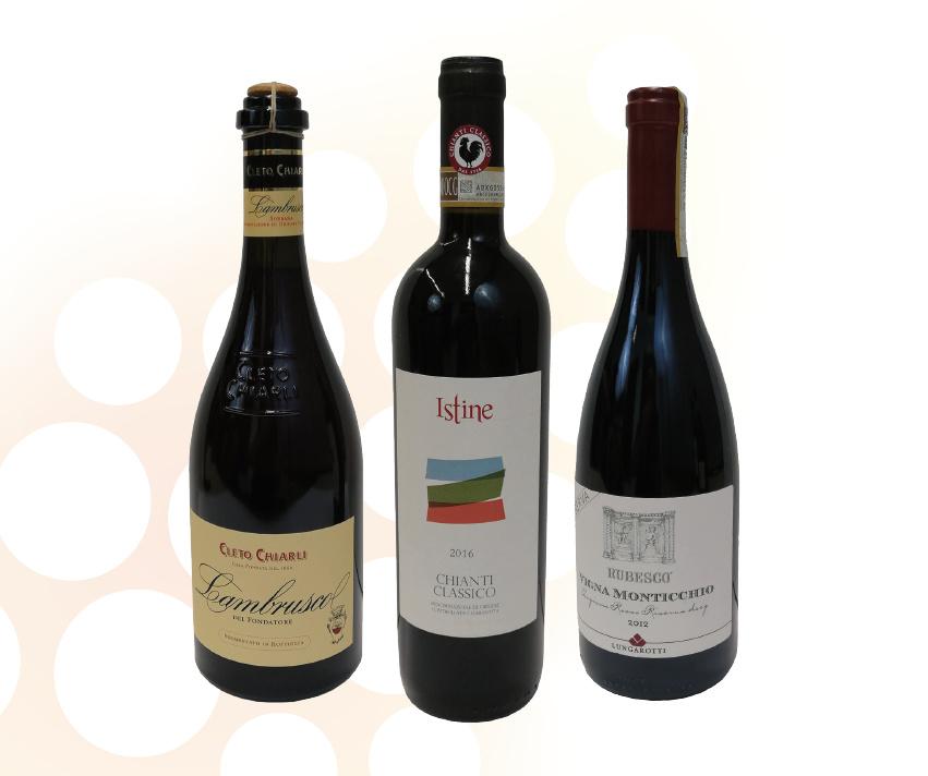 Le tre bottiglie dei vini scelti per il pacco degustazione vini primavera 2019 die Wein-Plus