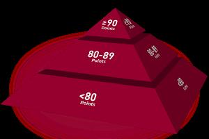 i punteggi di wein.plus per le recensioni vini qui mostrato in una piramide