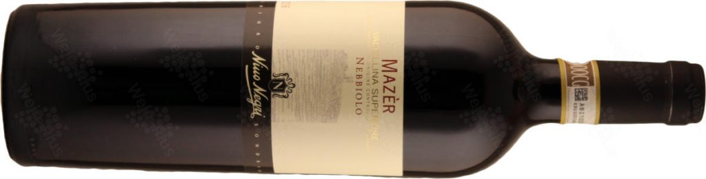 """Bottiglia del vino """"Mazér"""" 2016 Valtellina Superiore DOCG di Nino Negri, uno dei vini italiano nel pacco degustazione primavera 2020"""
