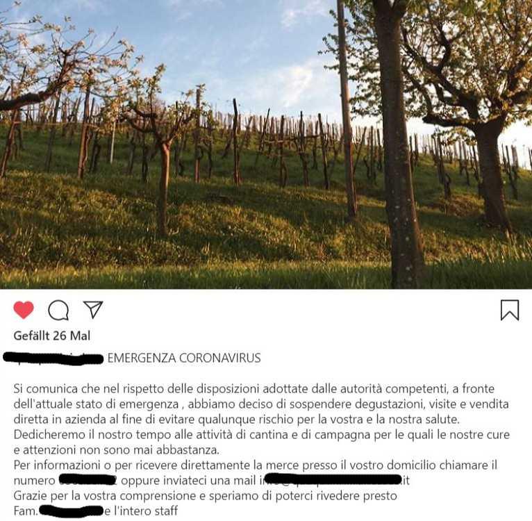 Esempio di un annuncio in Instagram di una cantina italiana che deve sospendere le degustazioni per Covid-19